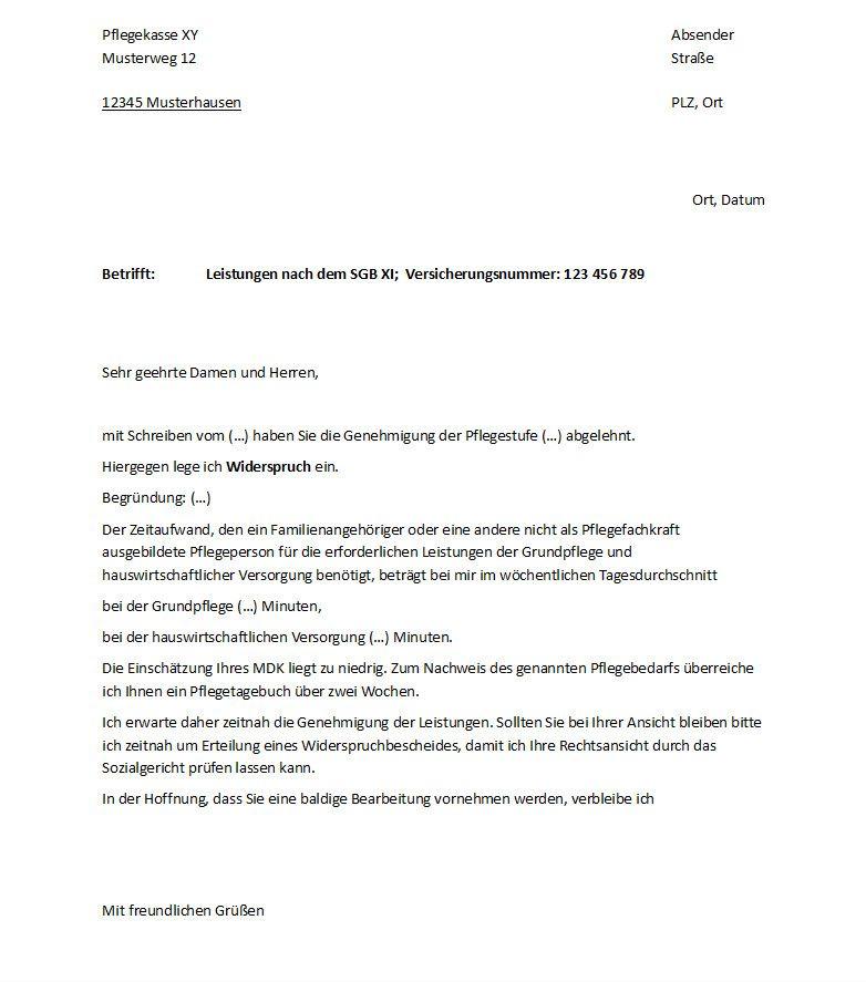 Widerspruch Formular gegen falsche Pflegestufe.
