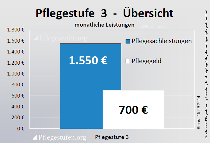 3 - bekommen Sie eine Pflegesachleistung von monatlich 1.550 Euro und 700 Euro Pflegegeld das alles Kombinationsleistung möglich.